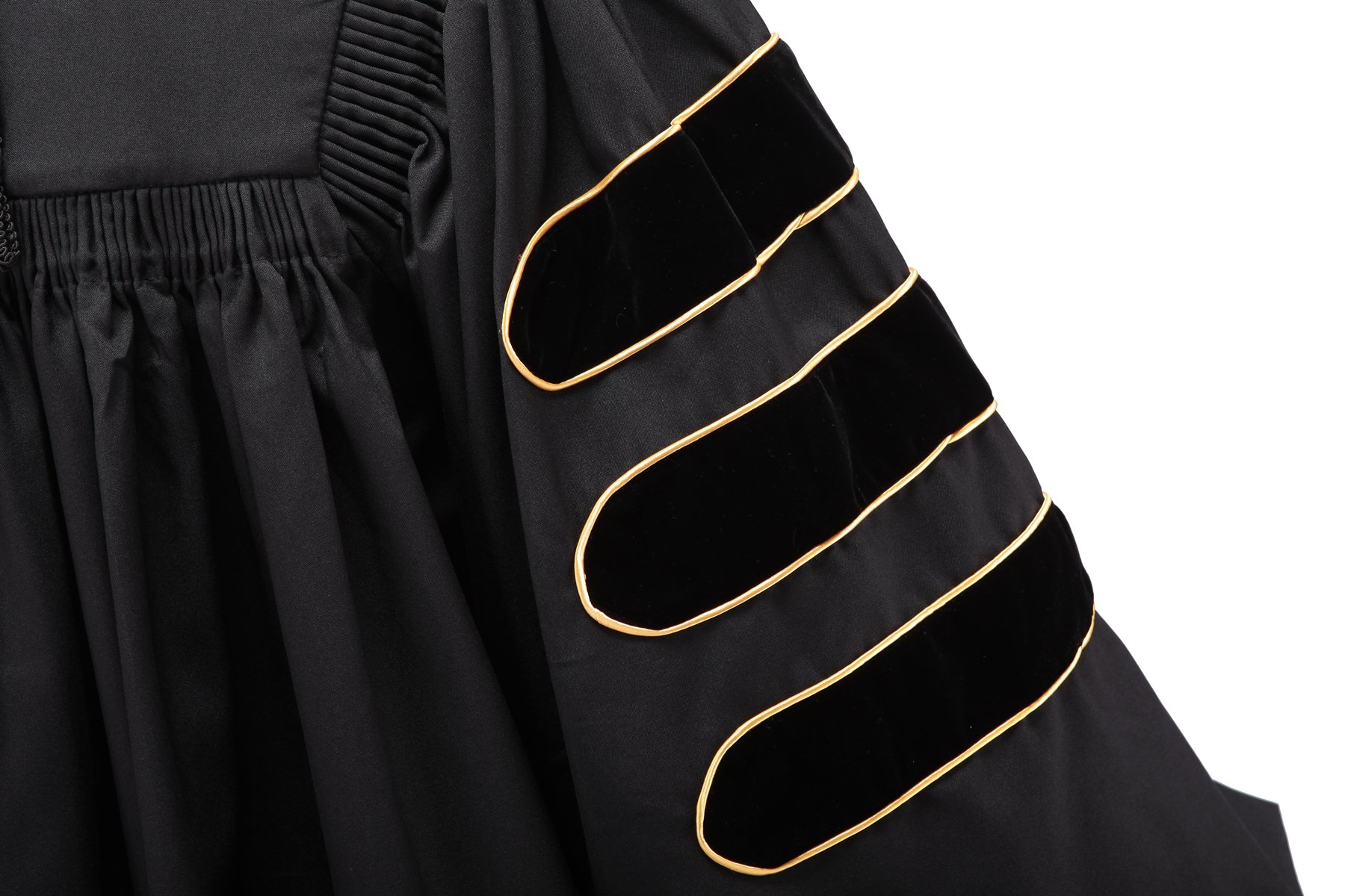 Robe Depot Unisex Deluxe Doctoral Graduation Gown With Gold Piping, Black Fabric and Black Velvet,48 by Robe Depot