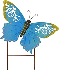 Morning View Butterfly Garden Stake Decorative Metal Butterfly Yard Stake Butterfly Ornaments Outdoor Stake Decor for Lawn Pathway Patio (Blue)