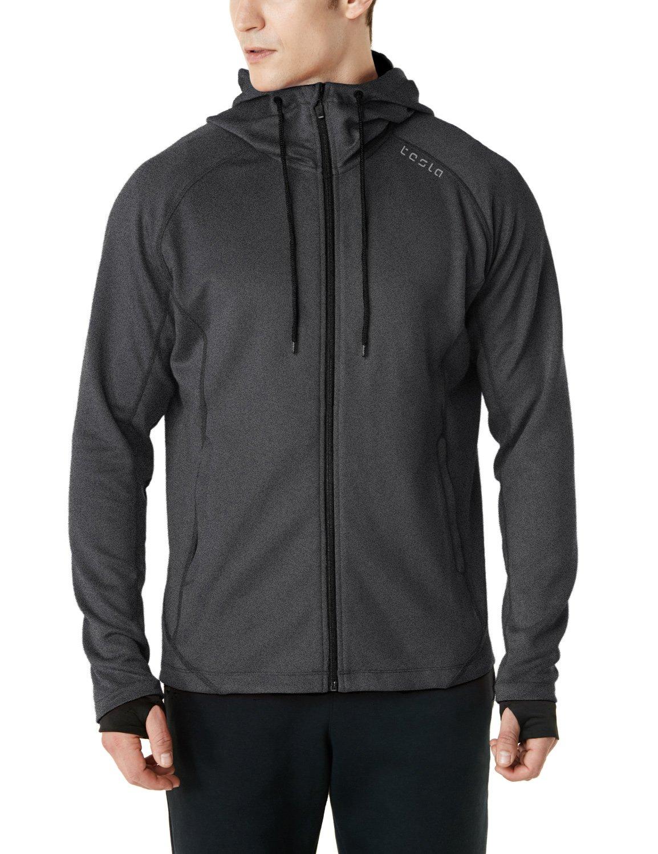 TSLA Men's Performance Active Training Full-Zip Hoodie Jacket, Active Fullzip(mkj03) - Grey, Large by TSLA