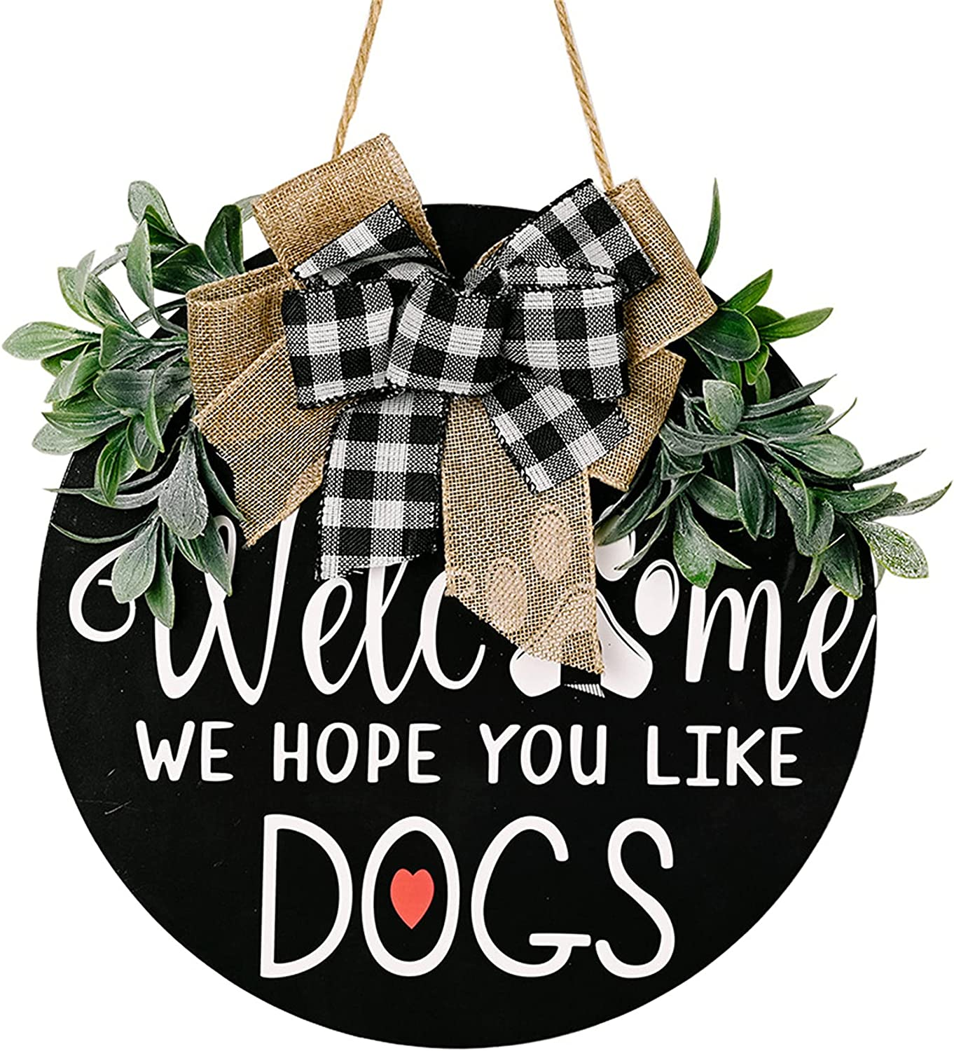 Welcome Wreath Sign for Farmhouse Front Porch Decor, Welcome Me -We Hope You Like Dogs Farmhouse Door for Home Decoration Outdoor Indoor, Gift for Christmas Housewarming Holiday Home Decoration(Black)