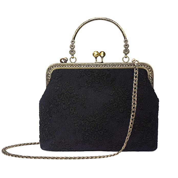 Edwardian Gloves, Handbags, Hair Combs, Wigs Rejolly Women Vintage Kiss Lock Top Handle Handbag Evening Purse Crossbody Shoulder Bag with Chain Strap $25.99 AT vintagedancer.com