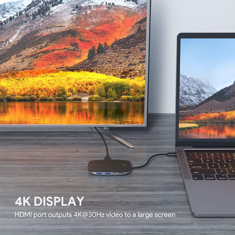 AUKEY USB C Hub 6 in 1 mit 3 USB 3.0 Anschl/üssen Dell XPS 15 SD /& MicroSD Kartensteckpl/ätzen und HDMI Anschluss USB C Adapter Kompatibel mit MacBook Pro Google Chromebook Pixel und Weiteren Ger/äten
