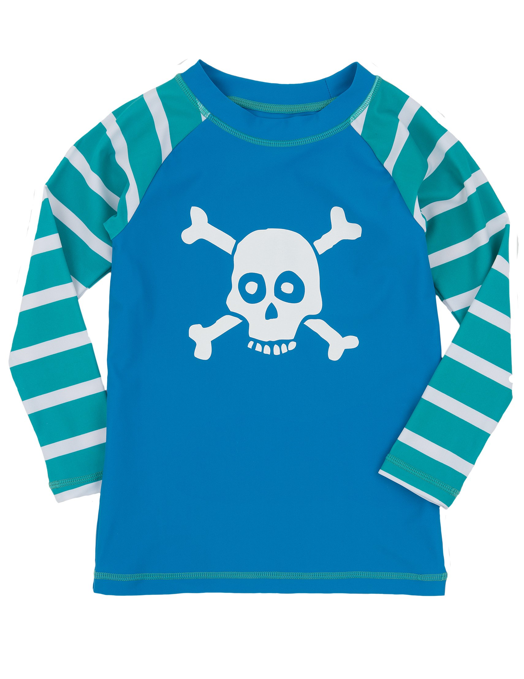 Hatley Little Boys' Skulls Rash Guard, Blue, 2