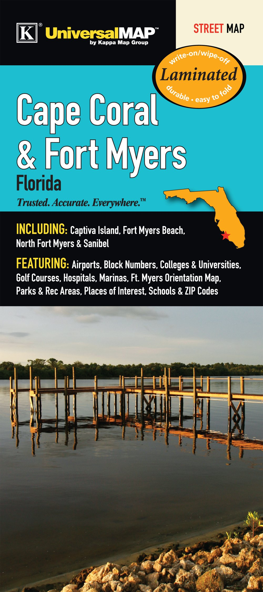 Fort Myers Beach Zip Code Map.Cape Coral Fort Myers Fl Laminated Map Kappa Map Group