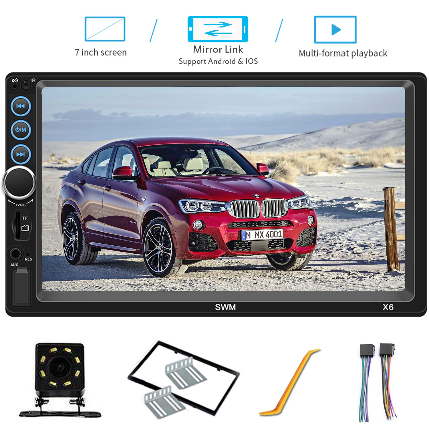 7 Inch Double Din Car Stereo Compatible with Bluetooth Headunit TF USB FM Aux-in Radio Audio Touchscreen MP5 Player Receiver Support Android & iPhone Mirror Link with Backup Rear-View Camera by H*Sheng TPK