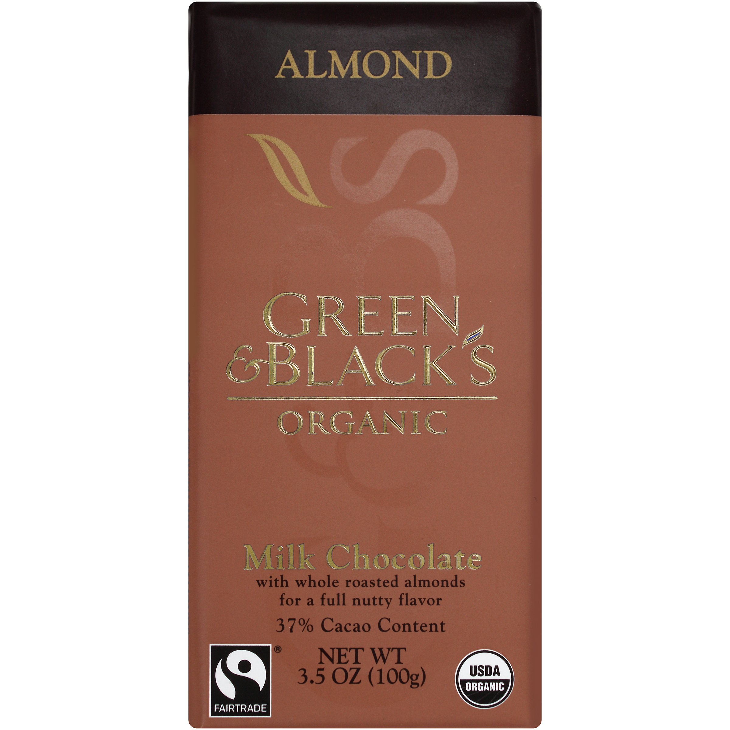 Green & Black's Organic Milk Chocolate with Almonds, 37% Cacao, 3.5 Ounce Bars (Pack of 10)