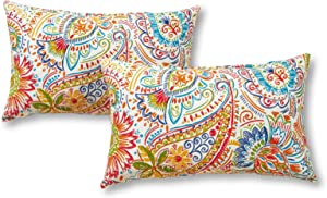 Greendale Home Fashions Set of 2 Outdoor 19x12-inch Rectangle Throw Pillows, Jubilee