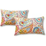 Greendale Home Fashions Rectangle Outdoor Accent Pillows, Set of Two in Painted Paisley, Jamboree