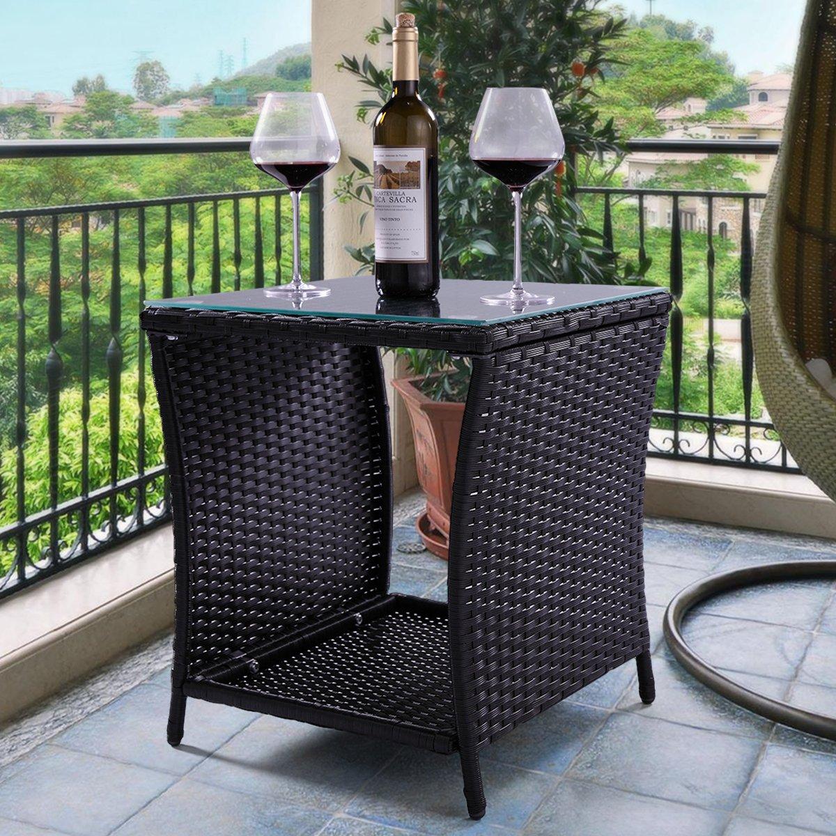 LAZYMOON Outdoor Wicker Rattan Side Table Patio Garden Yard Coffee Table Glass Top