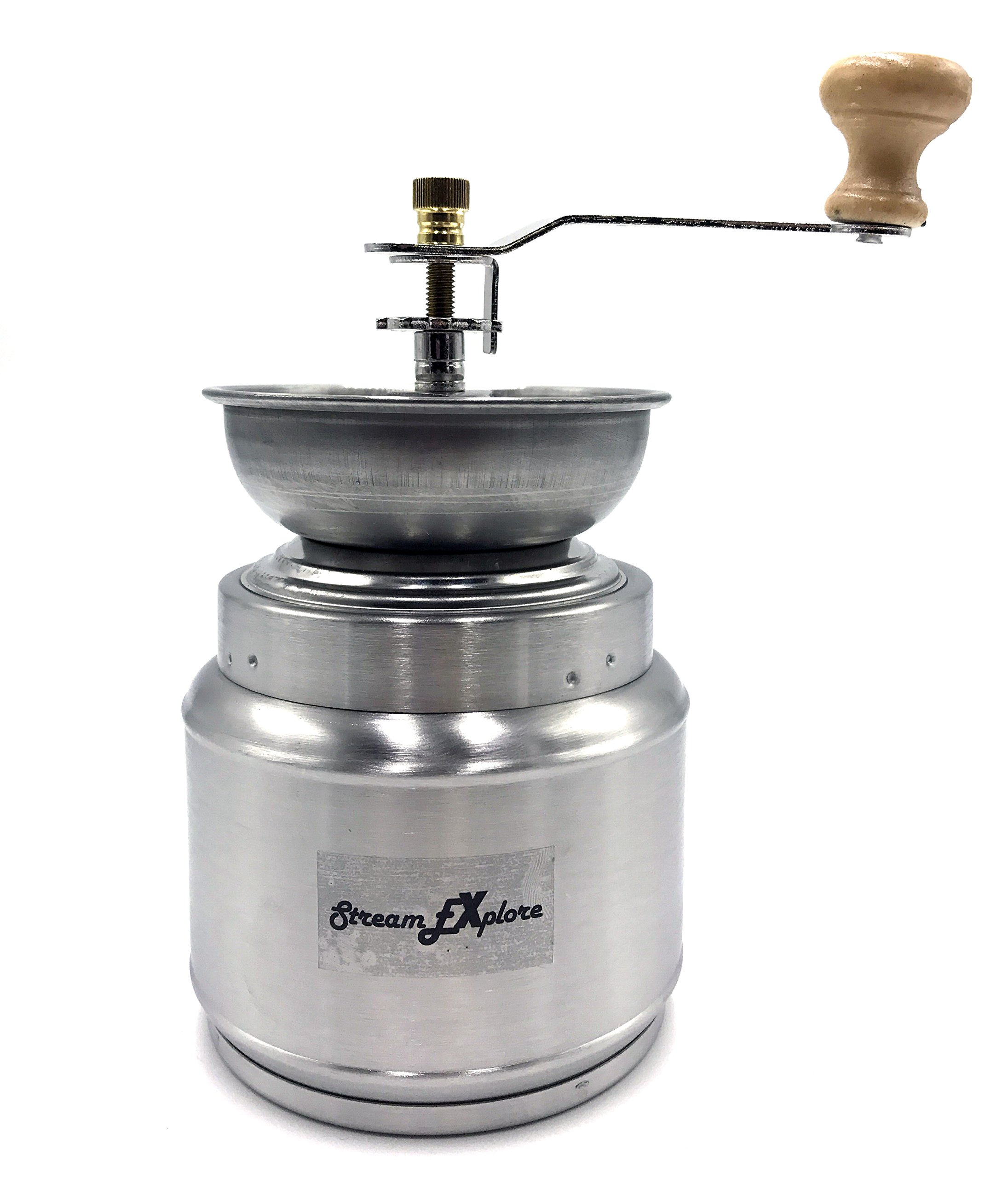 StreamEXplore Manual Coffee Grinder Hand Coffee Mill Burr Coffee Grinder with Ceramic Hand Crank - Stainless Steel