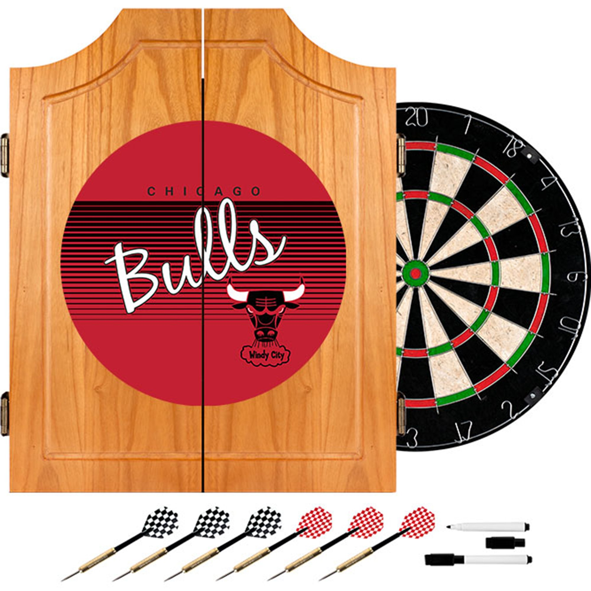 NBA Chicago Bulls Wood Dart Cabinet Set, One Size, Brown