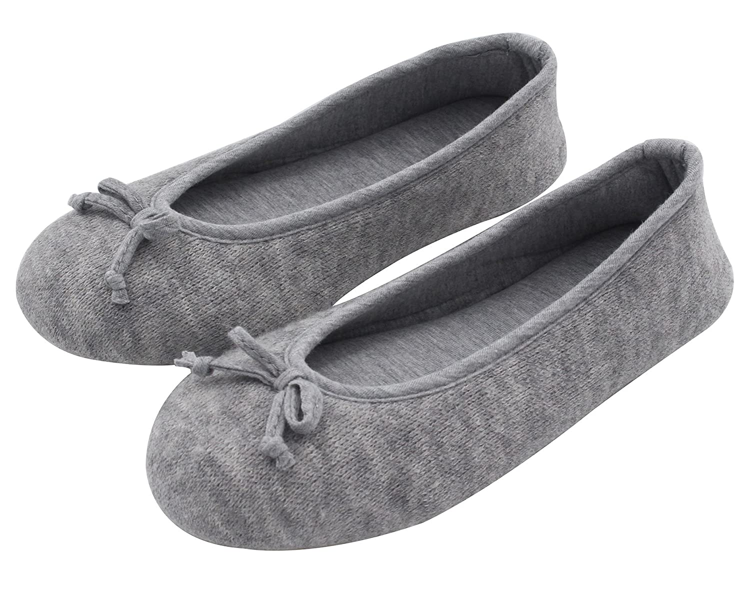 HomeTop Women's Elegant Cashmere Knitted Memory Foam Indoor Ballerina House Slippers Shoes