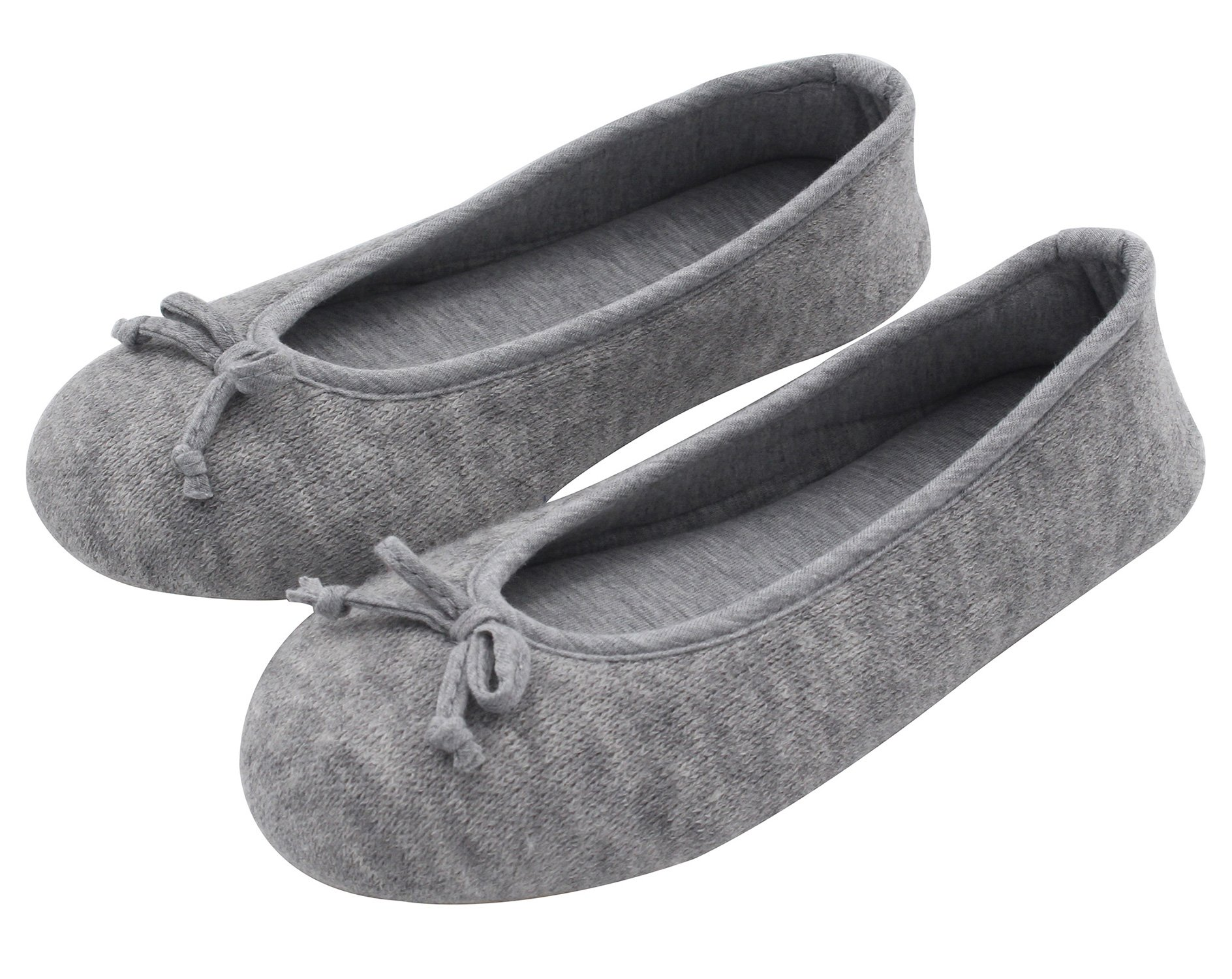 HomeTop Women's Elegant Cashmere Knitted Memory Foam Indoor Ballerina House Slippers/Shoes (Small/5-6 B(M) US, Gray)