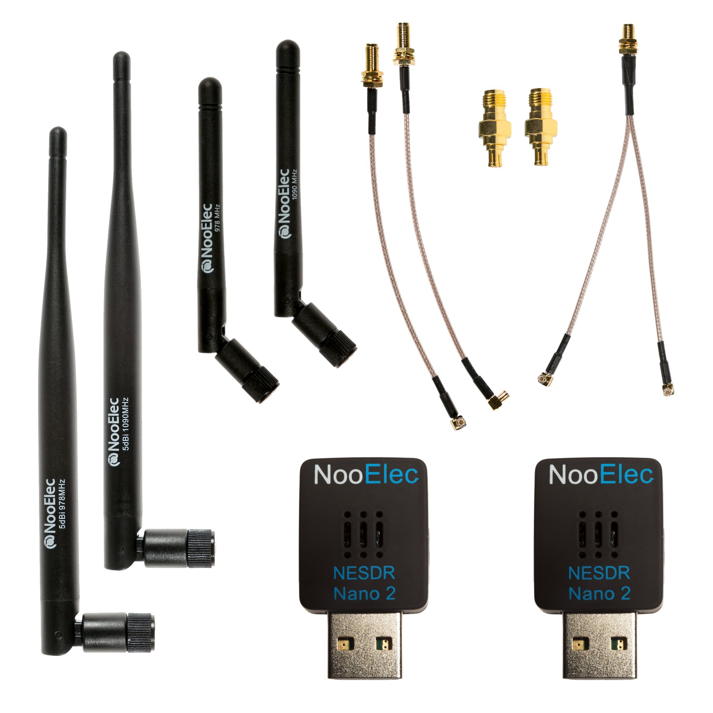 NooElec Dual-Band NESDR Nano 2 ADS-B (978MHz UAT & 1090MHz 1090ES) Bundle For Stratux, Avare, Foreflight, FlightAware & Other ADS-B Applications. Includes 2 SDRs, 4 Antennas, 5 Adapters.