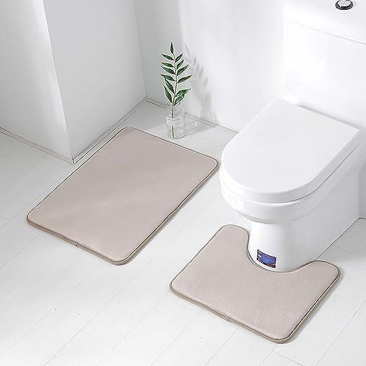 Bathroom Toilet 2 Piece Bath Mat Set Non Slip Soft Rubber Foot Print