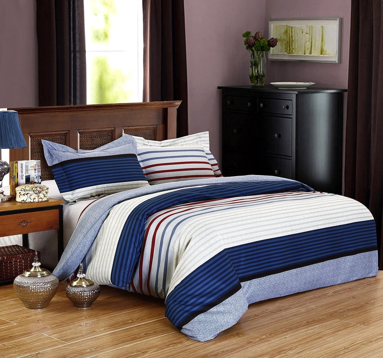 68107ebe0539 DelbouTree 3pcs Bedding Set,Lightweight Microfiber Duvet Cover Set,Full  Queen size Royal Stripe