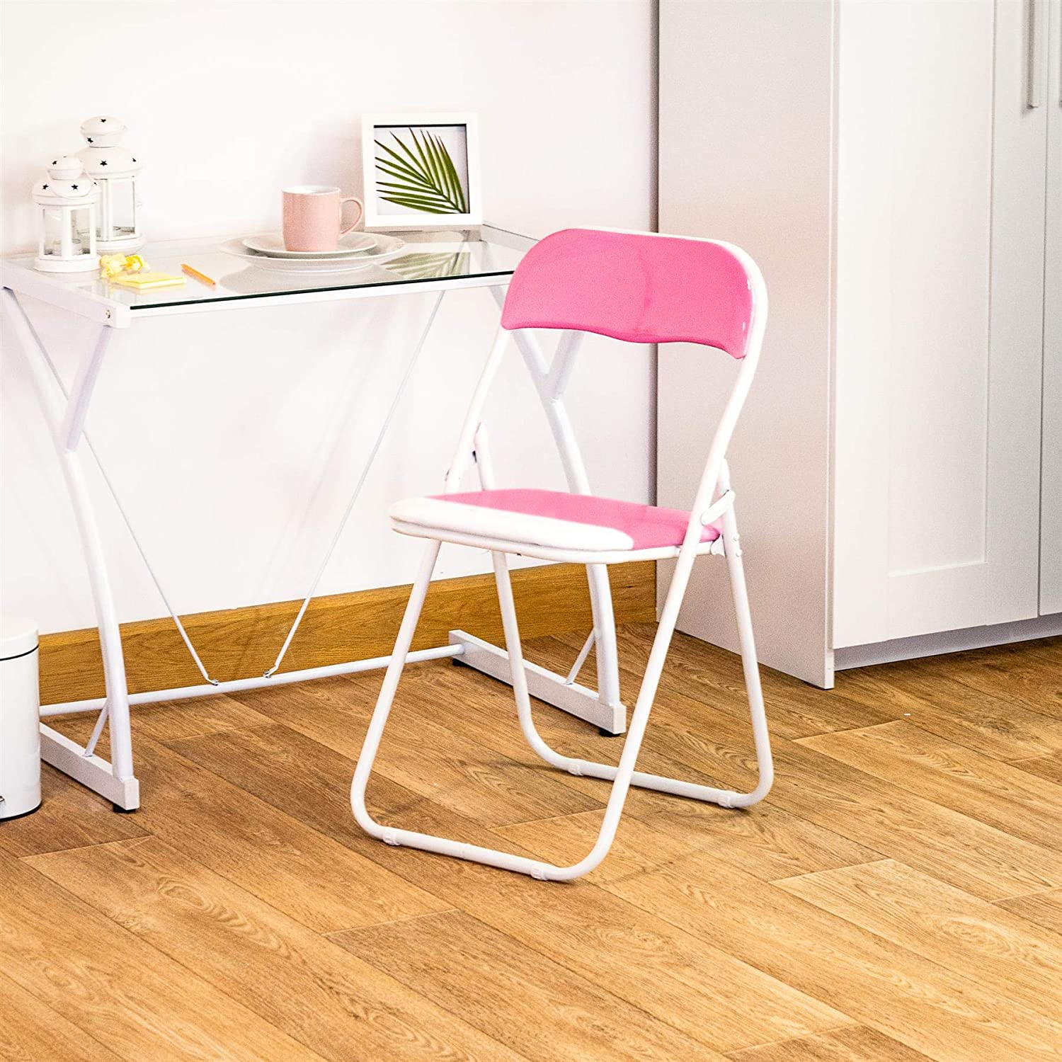 Harbour Housewares Pink / White Padded Folding Desk Chair
