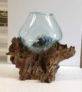 Vidrio fundido soplado artesanalmente y raíz de madera esculpidos para terrario, jarrón o pecera: Amazon.es: Jardín