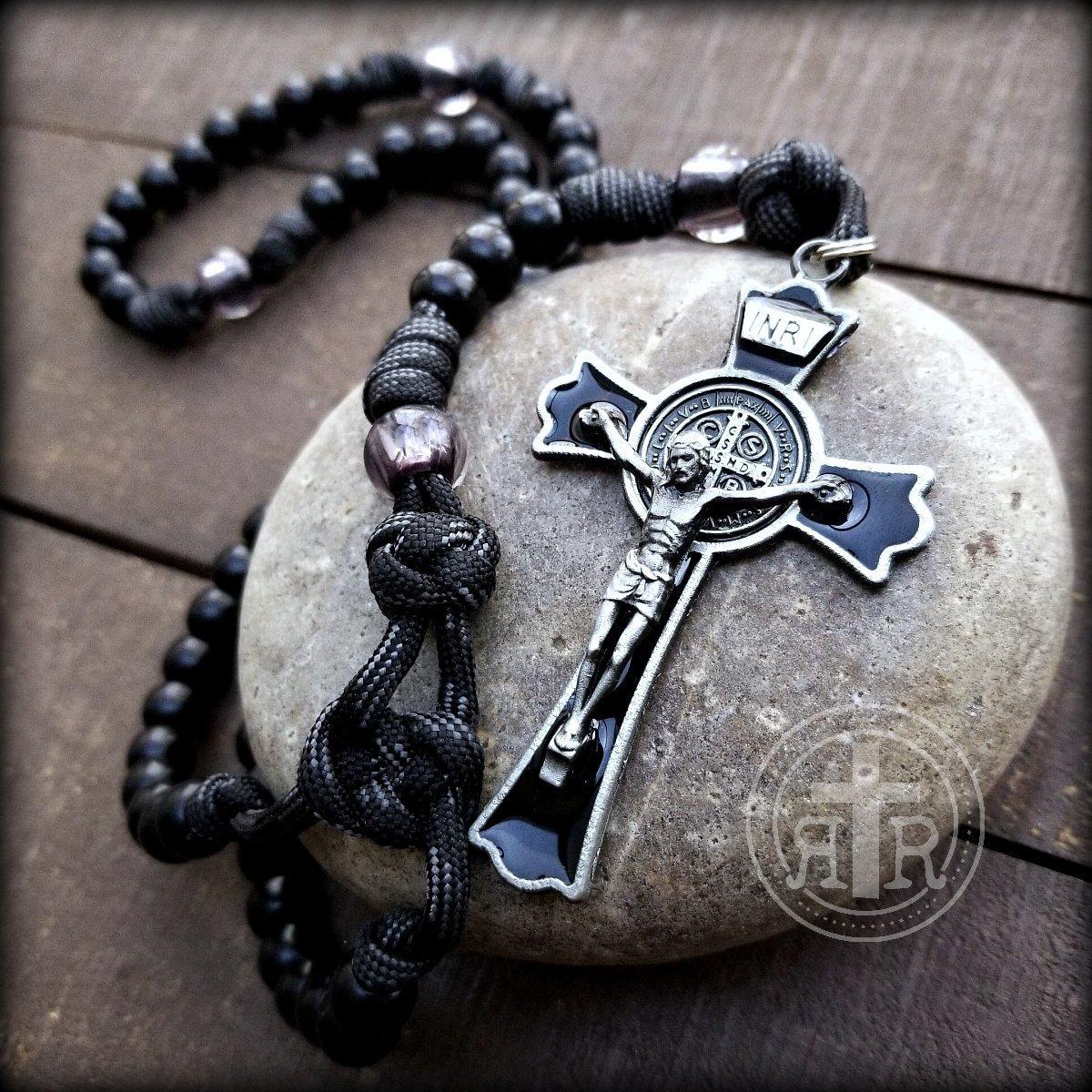BLACK MONK ROSARY - Strongest Rosaries - Gunmetal Crucifix