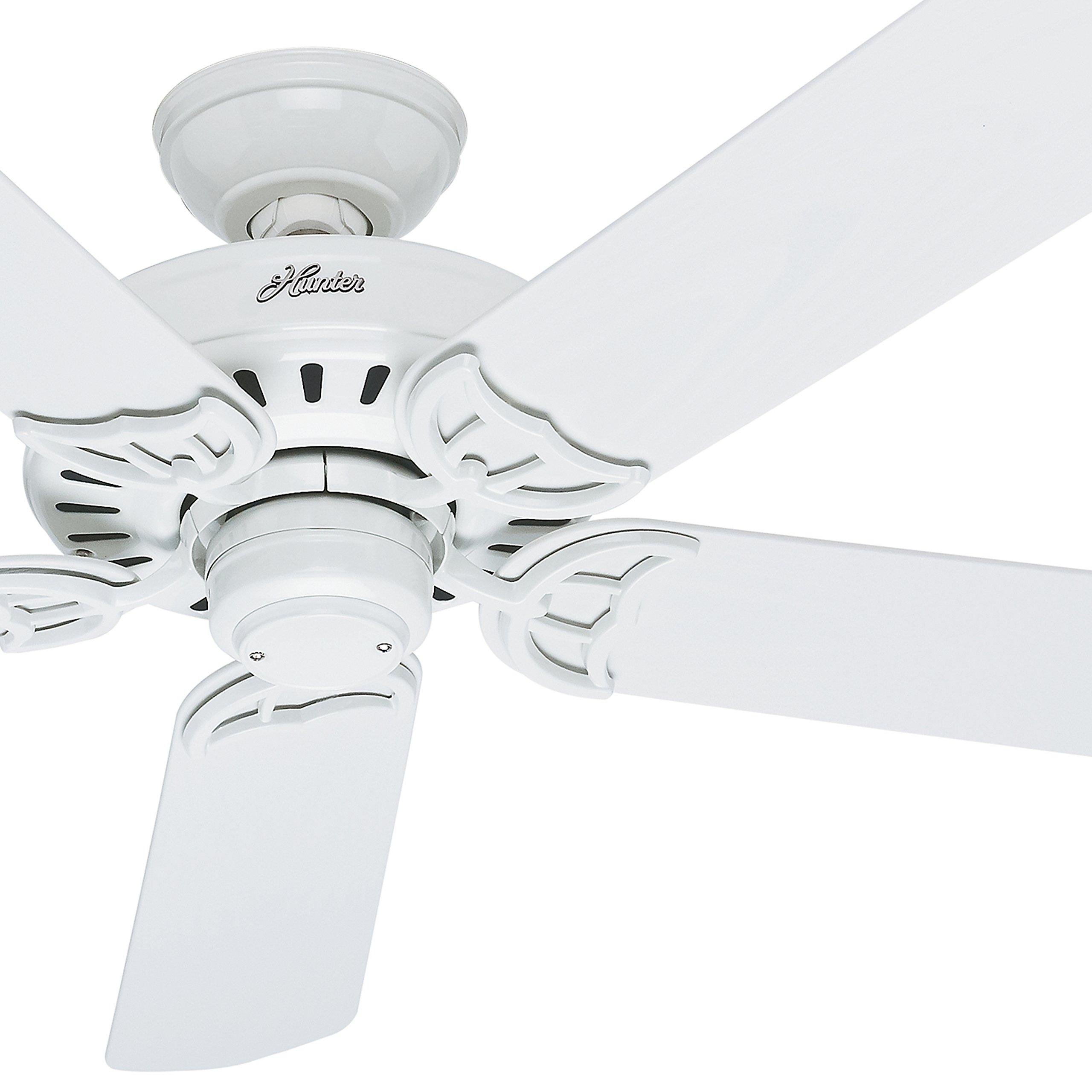 Hunter Fan 52'' Damp Rated Outdoor Ceiling Fan in White, 5 Blade (Certified Refurbished)