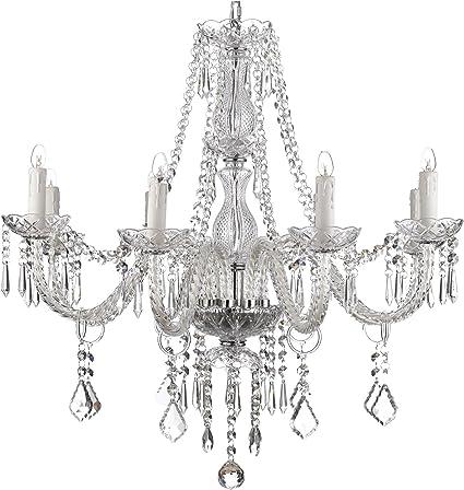 Crystal Chandelier Lighting 28ht X 28wd 8 Lights Fixture Pendant Ceiling Lamp Amazon Com