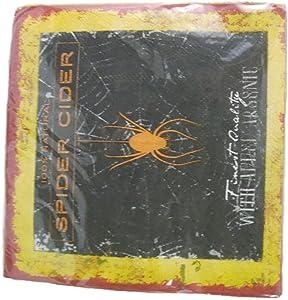 Halloween Spider Cider Decorative Orange, Yellow and White Beverage Napkin (24-10 Inch Square)