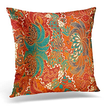 Golee Throw Pillow Cover Abstract Colorful Indonesia The Beautiful Of Malaysian And Indonesian Batik Pattern Java