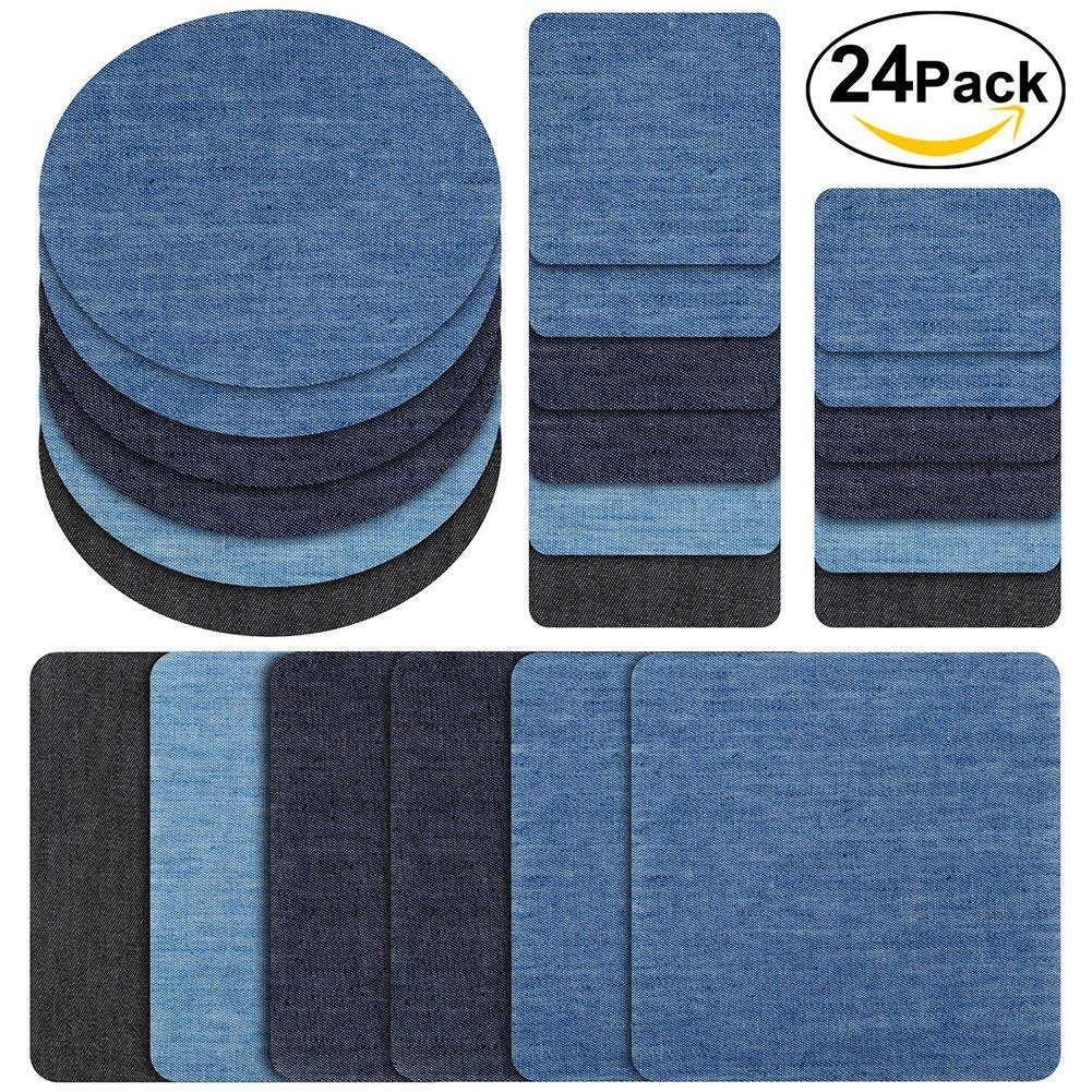 24pcs Multiple Assorted Iron On Mending Patches Denim Repair Kit for DIY Jeans Jackets Clothing Hats Hengshitong
