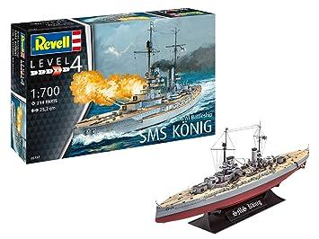 Revell- Maqueta WWI Battleship SMS König, Kit Modelo, Escala 1: 700 (05157), 25,2 cm de Largo (