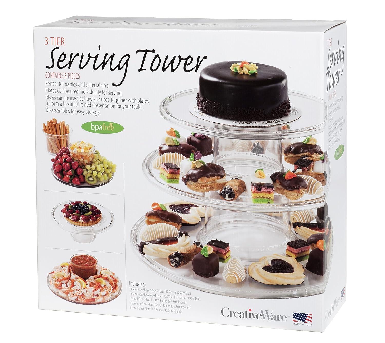 Amazon.com | CreativeWare 3-Tier Serving Tower: Dessert Stand ...