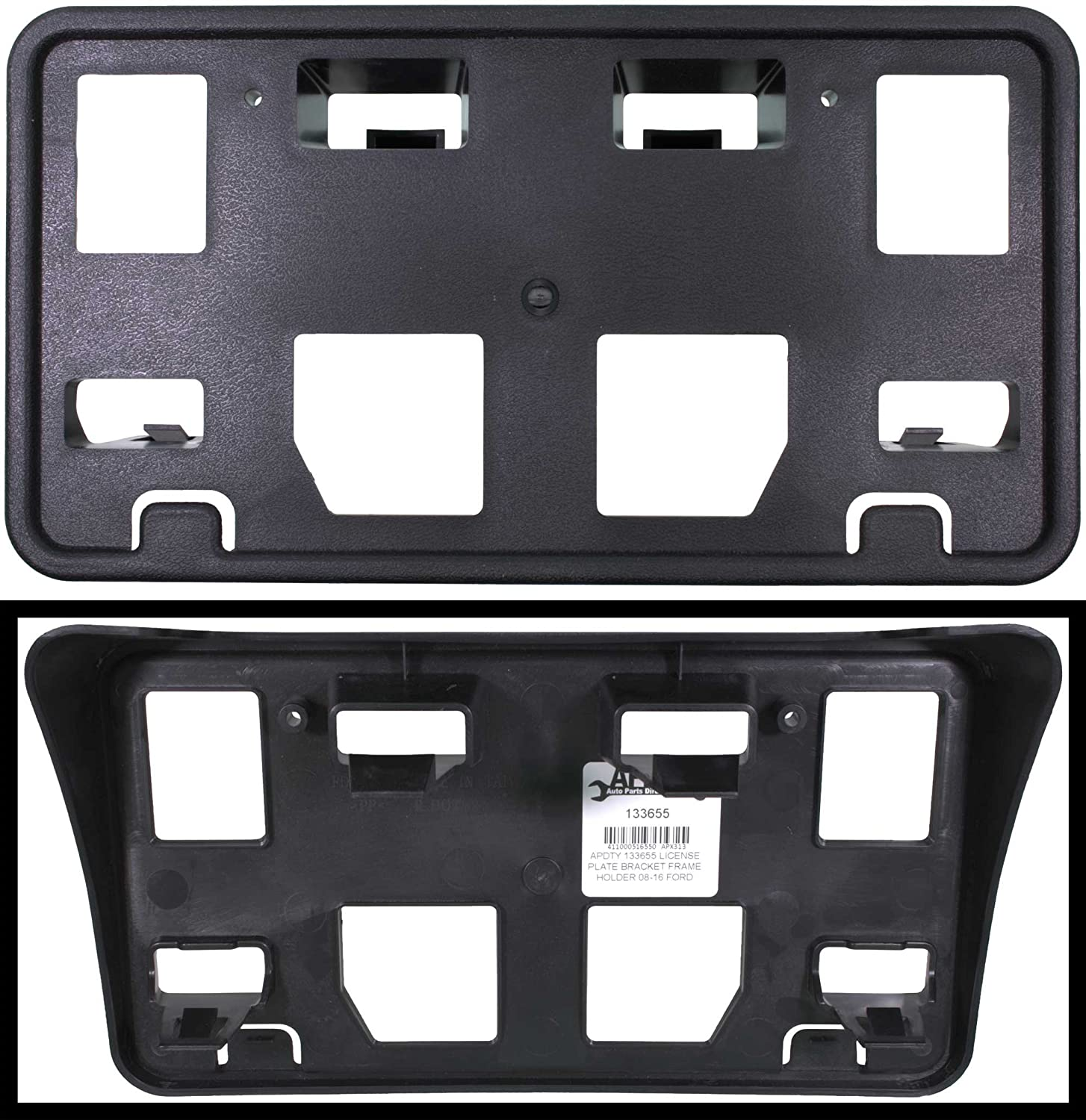 APDTY 133655 License Plate Bracket Plastic Frame Holder Fits 2008-2016 Ford  E150 E250 E350 Econoline Van (Replaces 8C2Z-17A385-AA, 8C2Z17A385AA)