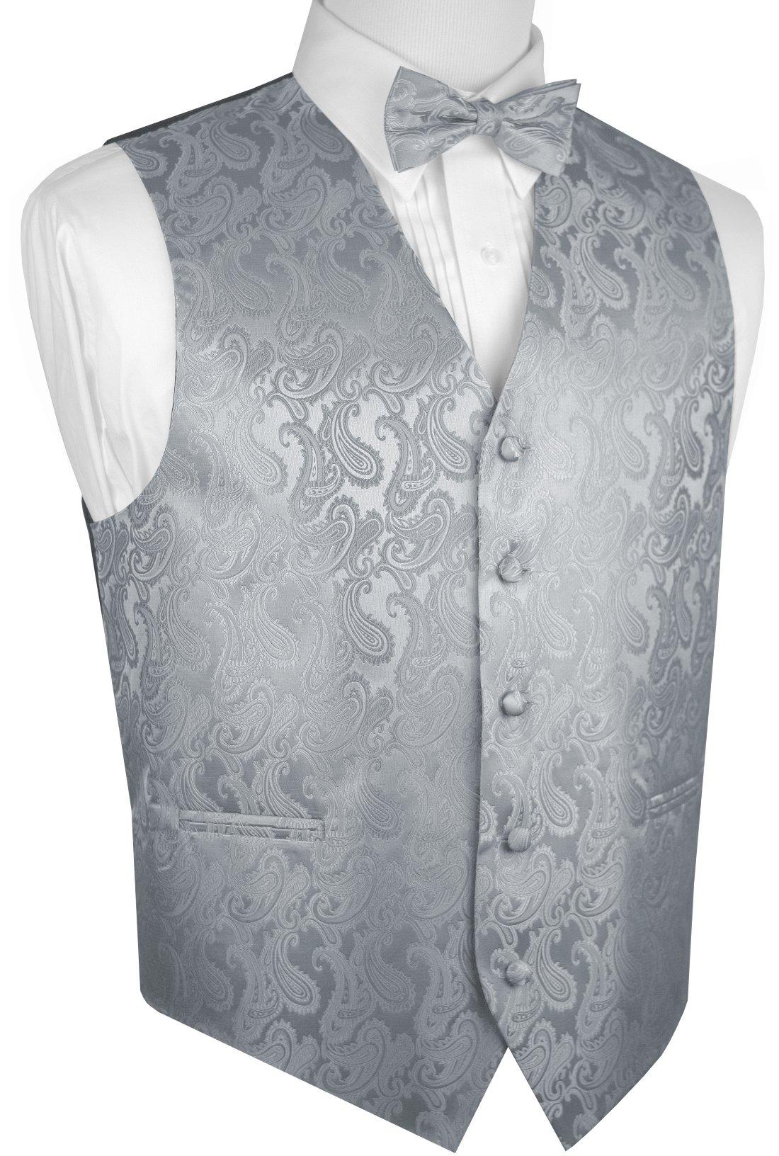 Men's Paisley Vest Bow-Tie Set-Silver L