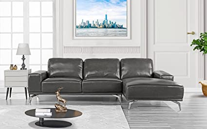 Modern Real Leather Sectional Sofa, L-Shape Couch w/Chaise on Right (Dark  Grey)