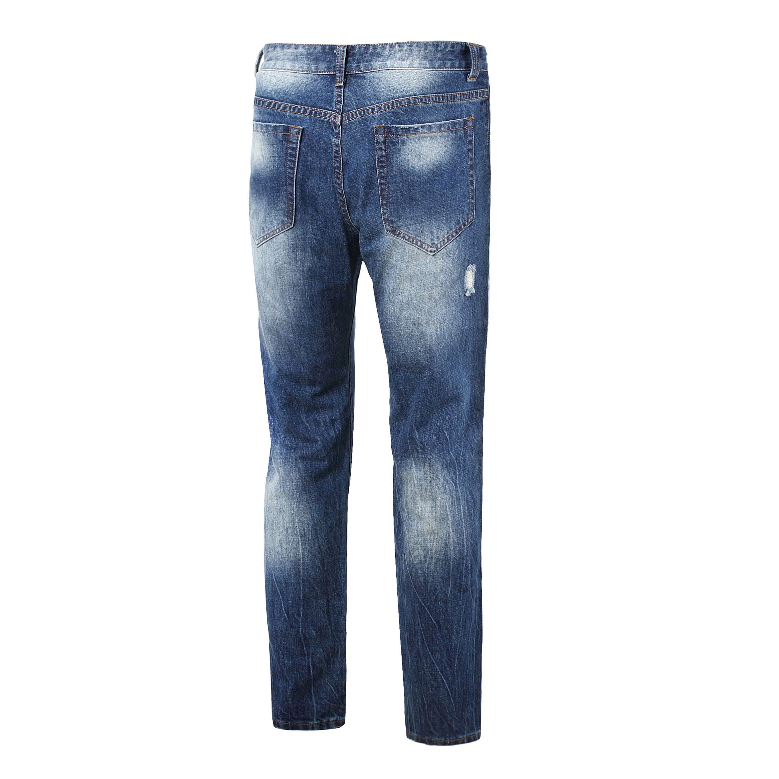 DAVID.ANN Men's Straight Fit Distressed Ripped Denim Jeans,Blue,32 by DAVID.ANN (Image #4)