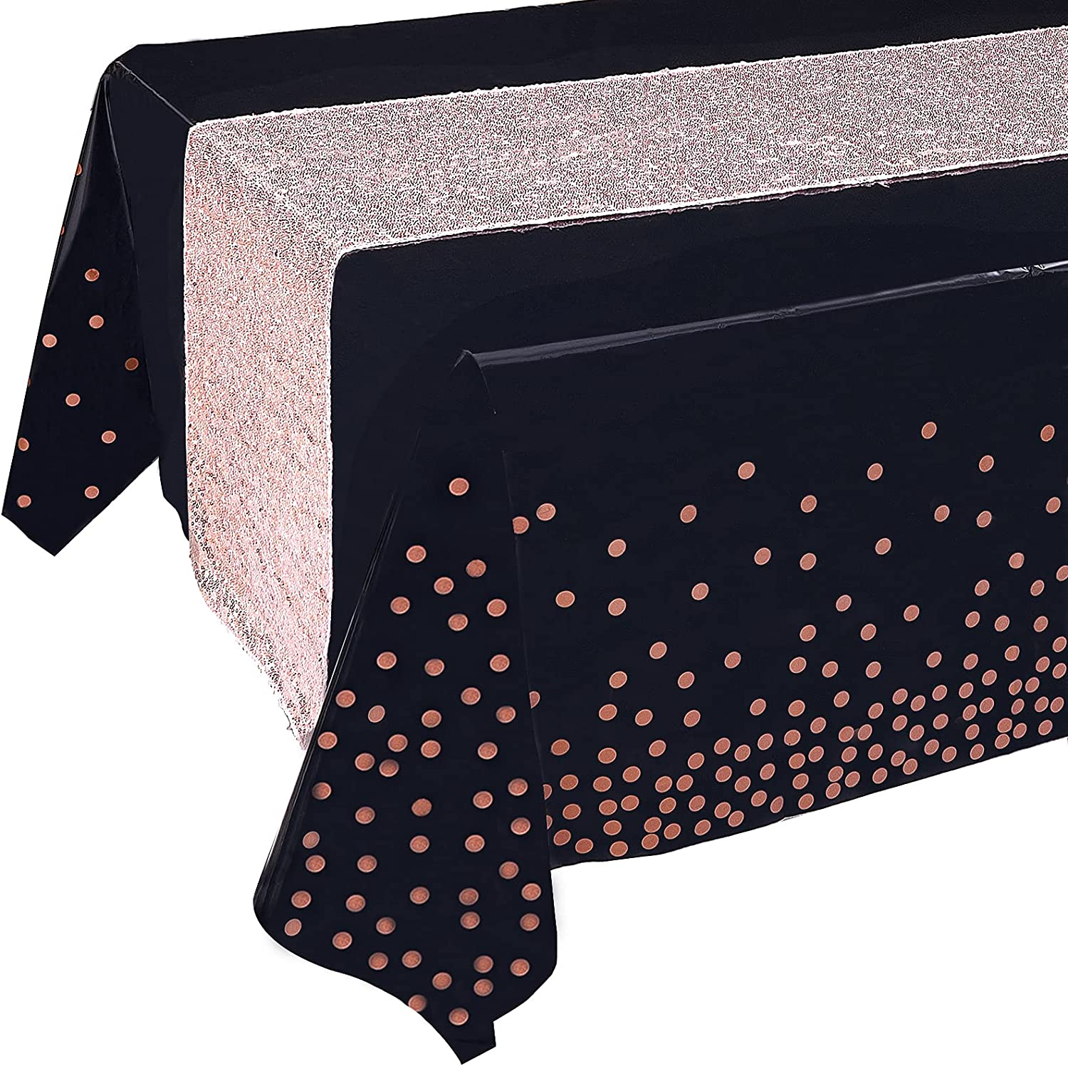 Rose Gold Tablecloth Sequin Table Runner Set, Black and Rose Gold Party Decorations, Rectangle Disposable Plastic Table Cloths for Parties, Rose Gold Table Runners, for Graduation Birthday Anniversary