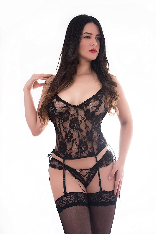 2980953cd0a Amazon.com  SophiaLove Women 3 Pcs Sexy Lace Lingerie Garter Belts Corset  Teddy Bodysuits One Size (XXS-M) (Black)  Clothing
