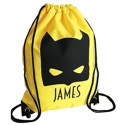 Personalised Kids YELLOW Bat Kid Theme Drawstring Swimming afb908693fceb