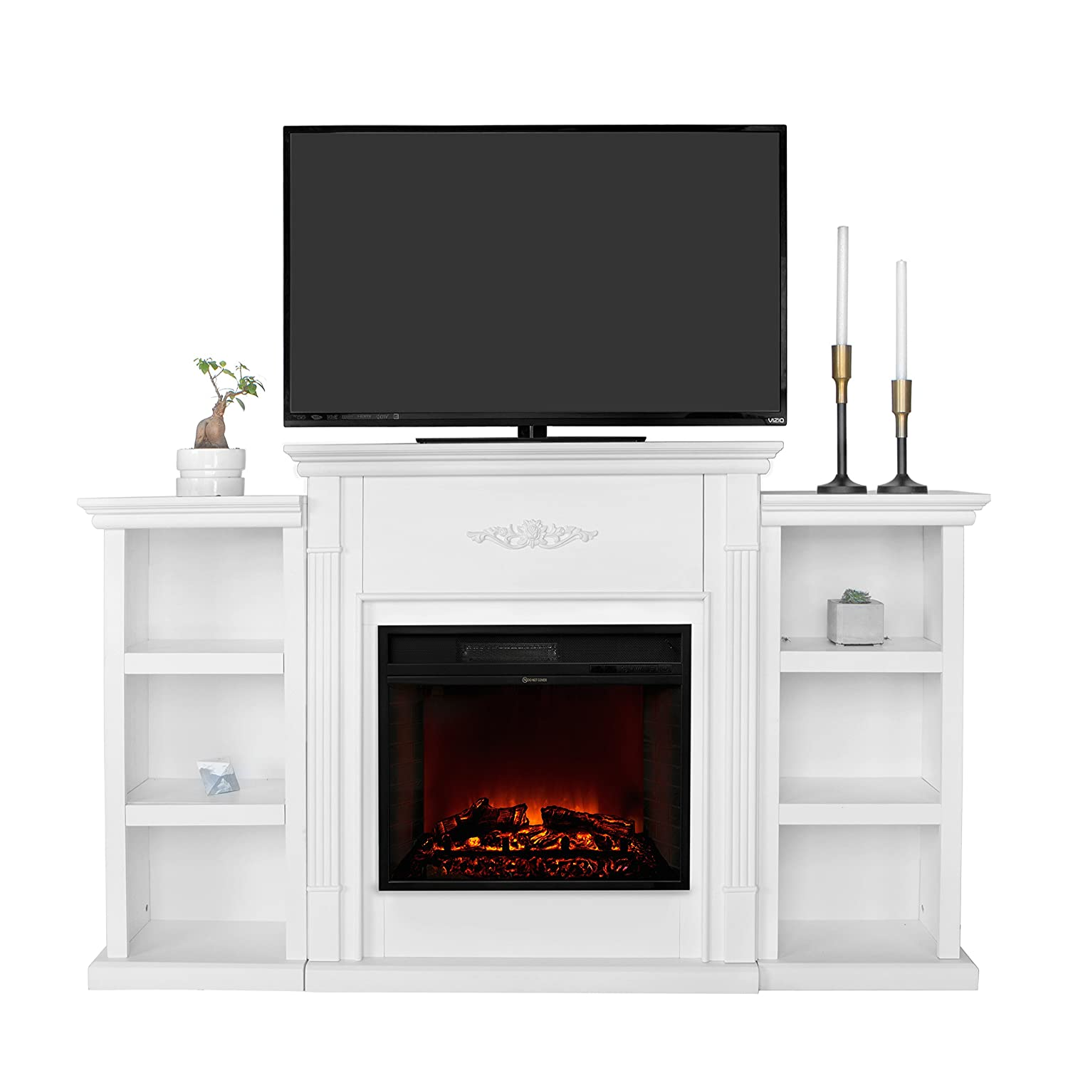 Amazoncom Xtremepowerus Electric Portable Fireplace W Tv Stand, Bookcases, Large