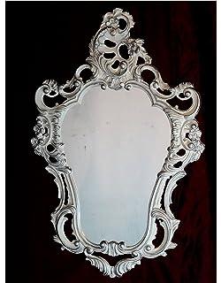 Espejo De Pared Plata Envejecida Ovalado 45 X 38cm Barroca Antiguo Reproducción Espejos