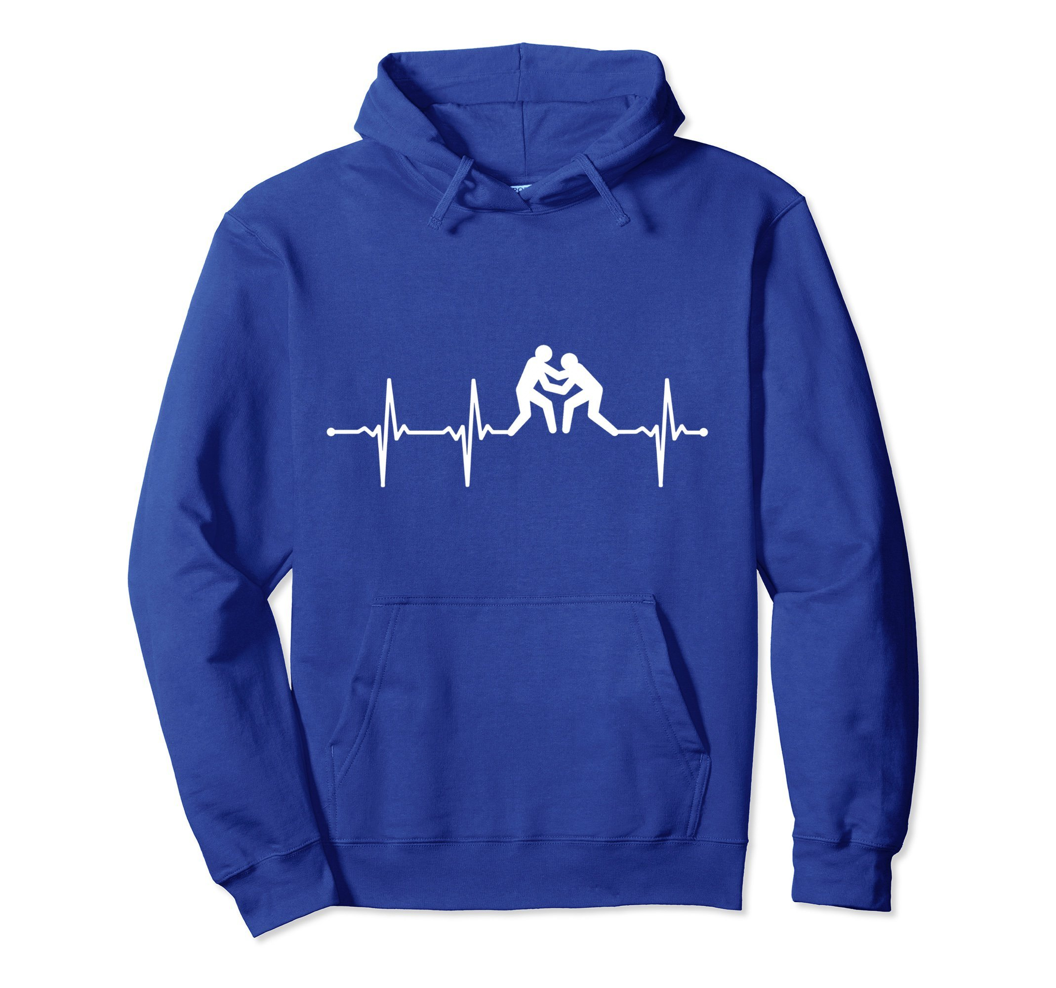 Unisex Wrestling Heartbeat Hoodie Small Royal Blue