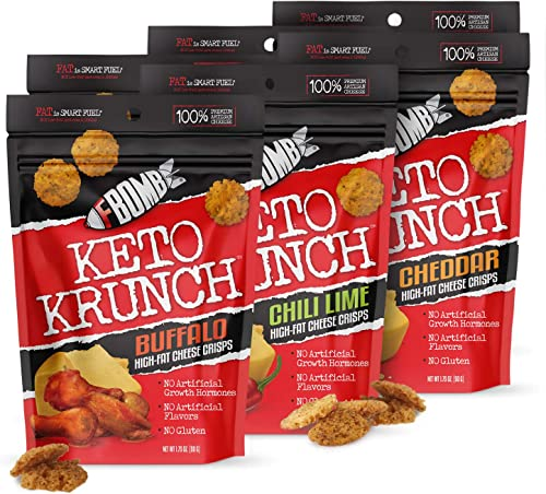 FBOMB Cheese Crisps 6 Pack: Crunchy, Baked Low Carb Snack