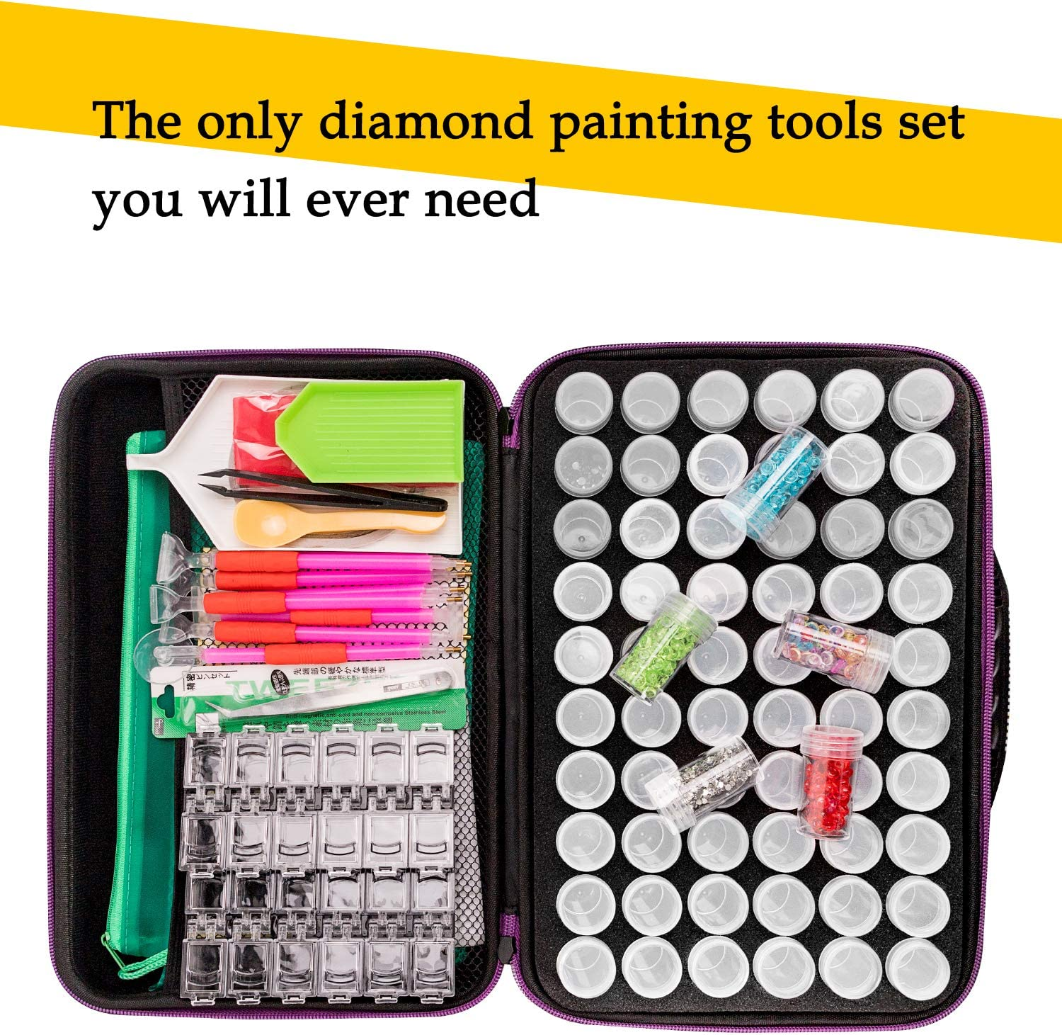 142pcs 5D Diamond Painting Tools Set Multiplacers Tweezers Boxes and More for Diamond Embroidery DIY Art Craft Straightener 60 Slots Diamond Embroidery Box Container Jars Trays Clips