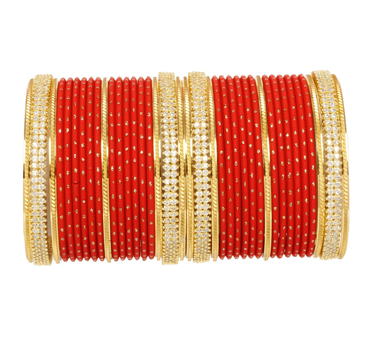 CHAUHAN COLLECTION 38 pcs AD American Golden Royal Style Red color Plain bangle set women Bridal Wedding jewelry (2.8)
