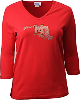 2X Nitro USA NCAA Wisconsin Badgers Womens Super Soft Womens Collegiate Bling V-Neck Tee Black