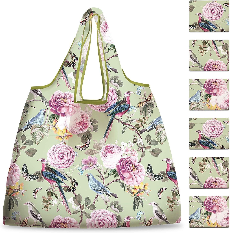 NymphFable 6 Pcs Bolsa Compra Reutilizables Flores Pájaros Bolsas para Comestibles Ecológicas Plegables Grande