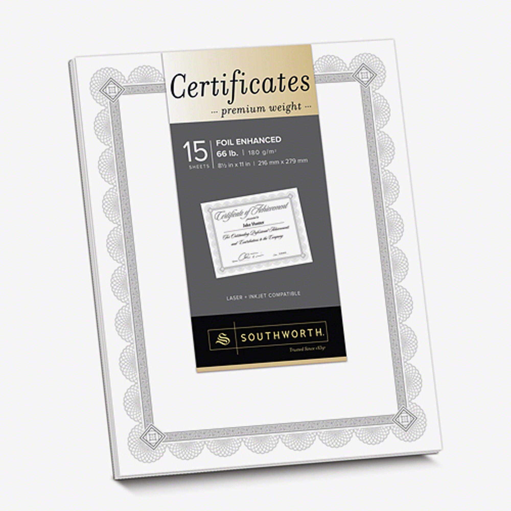 Southworth CTP2W Premium Certificates, White, Spiro Silver Foil Border, 66 lb, 8,5 x 11, 15/Pack