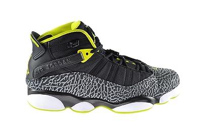 Jordan 6 Rings Men s Basketball Shoes Black Venom Green-White-Cement Grey  322992 27a03b96a7