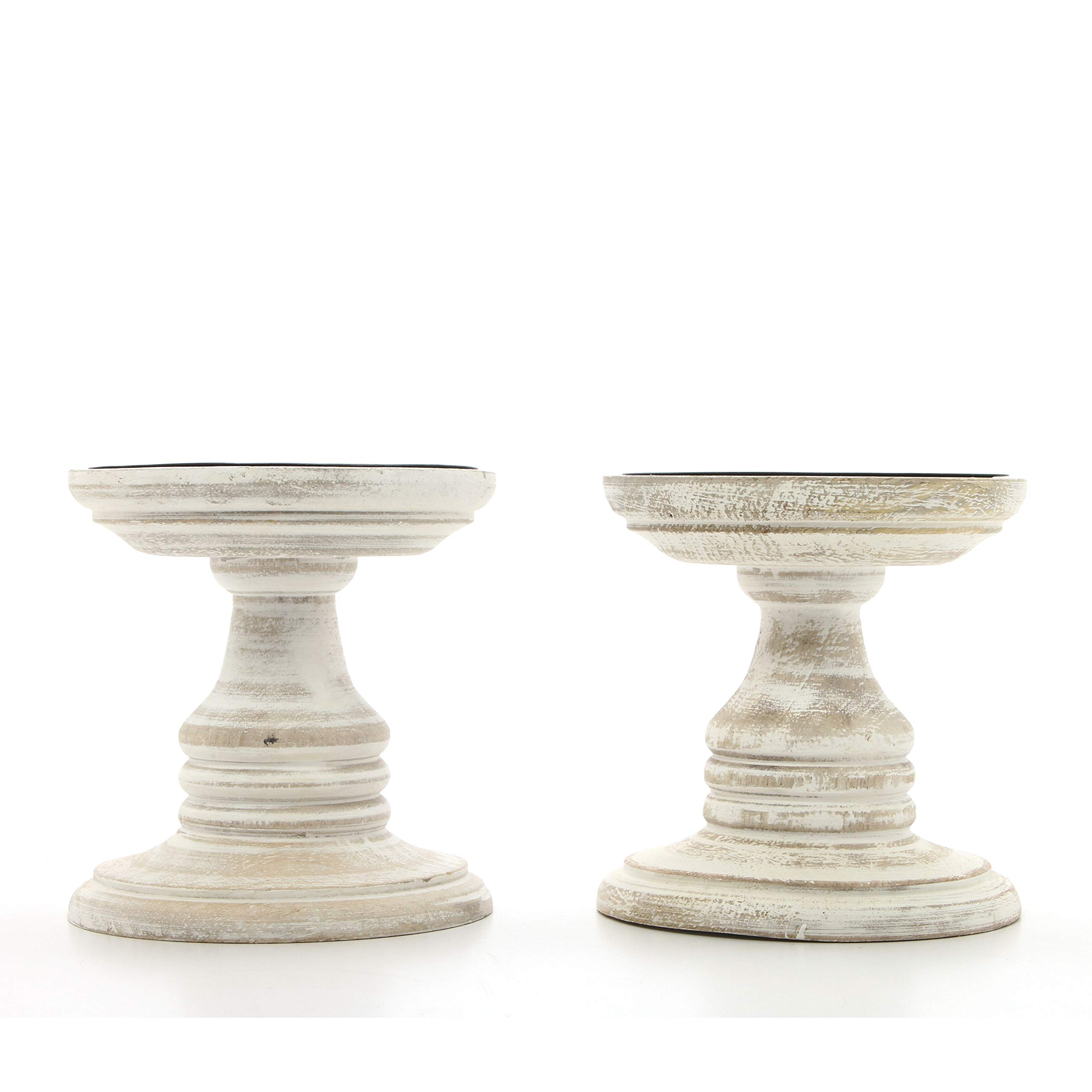 Hosley Set of 2 White Wood Pillar Holders - 5'' High. Ideal Gift for Weddings, Special Occasion, Spa, Aromatherapy Settings, Candle Gardens W1