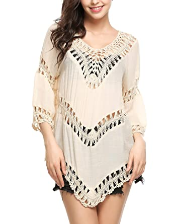 92449ef51a Zeagoo Women's Vintage Swimwear Crochet Tunic Cover up Beach Dress Beige