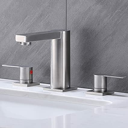 Lavatory Vanity Sink Faucet Without Pop Up Drain Ufaucet Commercial Modern Brushed Nickel Single Handle Waterfall Stainless Steel Bathroom Faucet